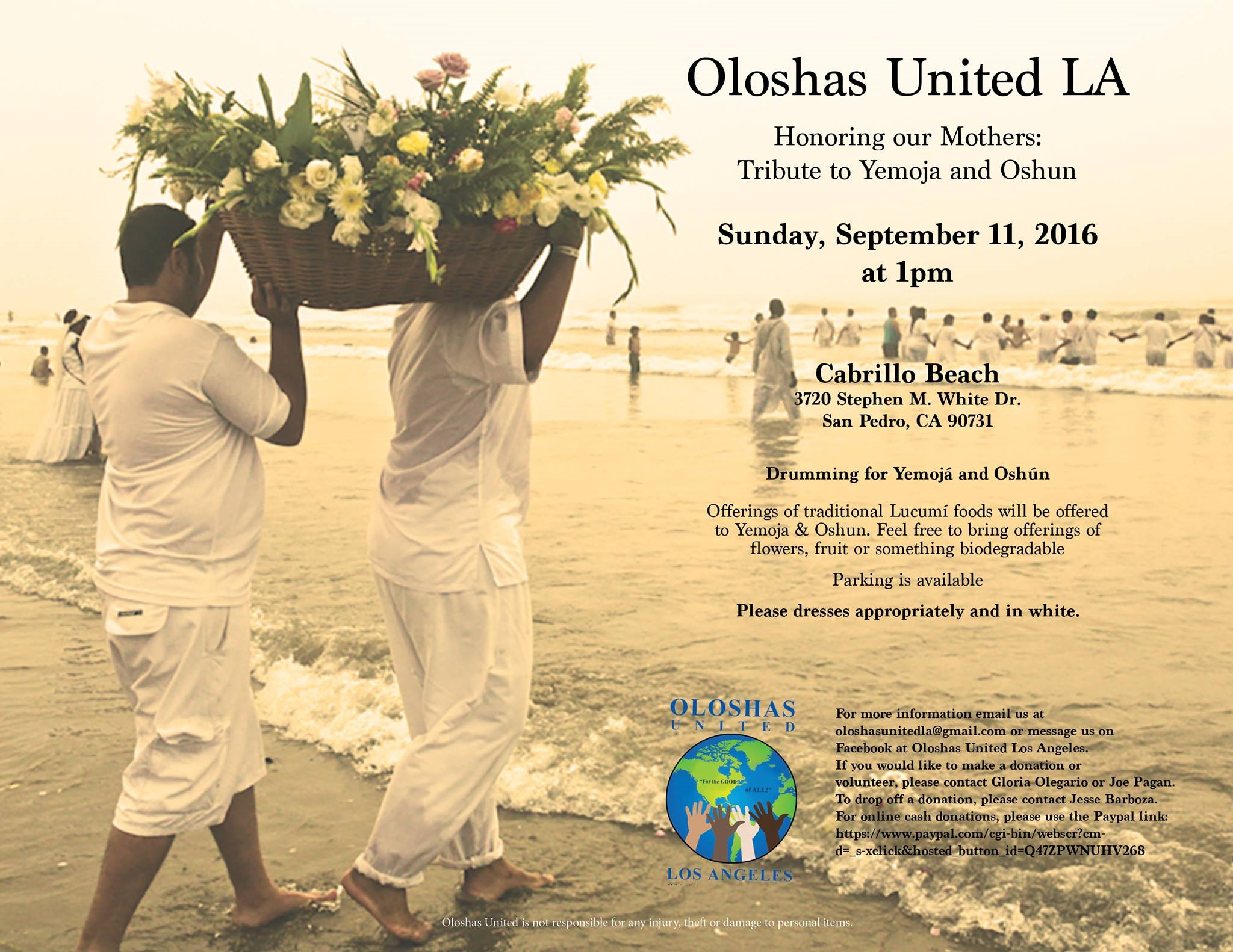 Oloshas United LA Tribute to Yemoja and Oshun